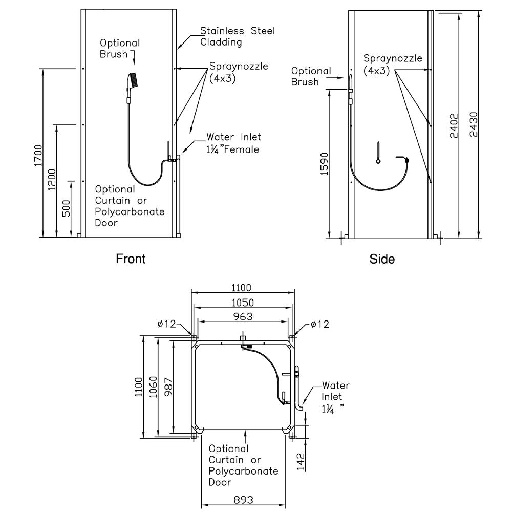 PremiumLine Decontamination Shower Cubicle With One Entrance Exit